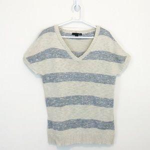 Liv Short Sleeve Striped Sequin Sweater